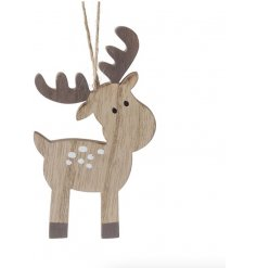 A sweet and simple wooden reindeer hanging decoration, complete with charmingly simple details