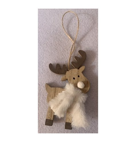 A sweetly simple hanging wood reindeer with minimal detailing