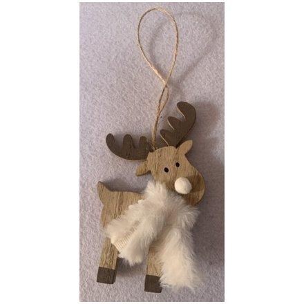 Wooden Reindeer Hanger, 10cm