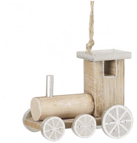A hanging wooden train decoration complete with silvery tones and touches