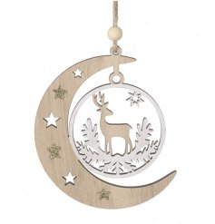 A chic and simple hanging crescent moon decoration complete with natural tones, glittery stars and a reindeer scene