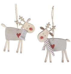 Sweet characters to add to any Christmas Tree this festive season, a mix of hanging wood reindeers with glittery hearts
