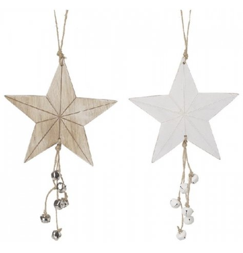 A mix of hanging wooden stars with jute string and jingling bells for a festive feel