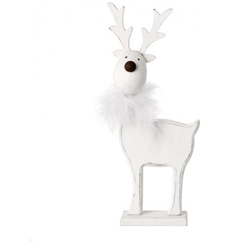 A sweet and simple standing wooden reindeer in a basic white tone, decorated with a fluffy trimming
