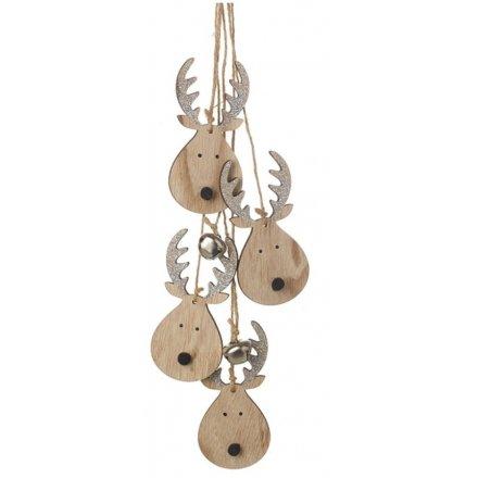 Hanging Reindeer Wooden Christmas Garland