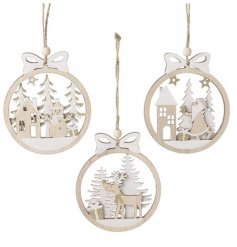 Wooden Cut Out Bauble 11.5cm