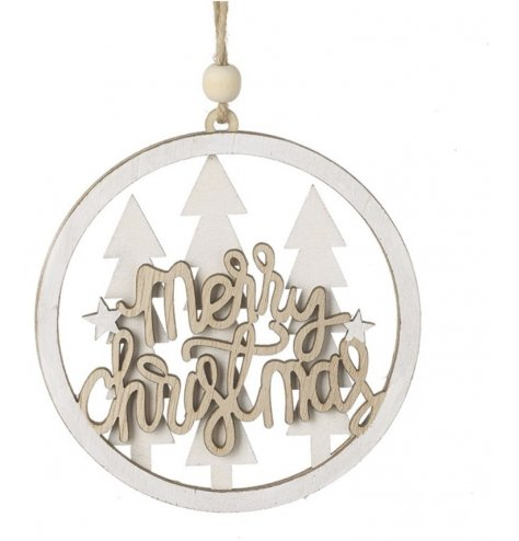 Merry Christmas Wooden Hanging Bauble Decoration