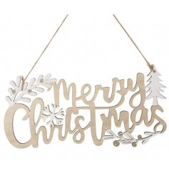 Hanging Merry Christmas Sign - Made from wood