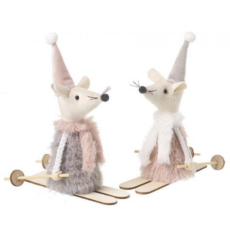 Mouse On Wooden Skis Christmas Decoration