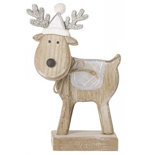 A natural wooden reindeer decoration set with rustic touches and glittery antlers