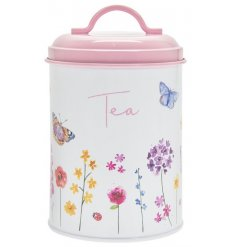 Sure to add a Spring feel to any kitchen space, a printed Tea Canister with a secure pink lid and floral butterfly deca