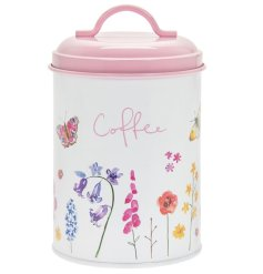 Sure to add a Spring feel to any kitchen space, a printed Coffee Canister with a secure pink lid and floral butterfly d
