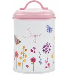 a printed Sugar Canister with a secure pink lid and floral butterfly decal