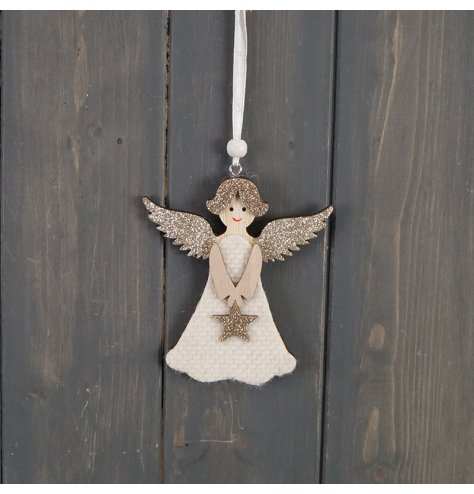 A wooden angel hanging decoration, decorated with a glittery finish and small star detail