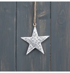 A charmingly rustic inspired hanging metal star featuring a cut out detail and jute string for hanging