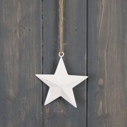 A simple inspired hanging star decoration with a jute string and white tone finish