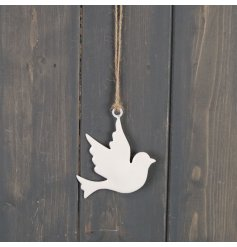 A stunningly simple hanging dove decoration with a jute string