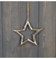 With its jute hanger, this Rustic inspired hanging star is perfect for any tree display at Christmas