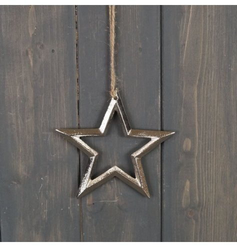 A rough luxe inspired star hanging decoration with a textured silver aluminium finish. Complete with a long jute string