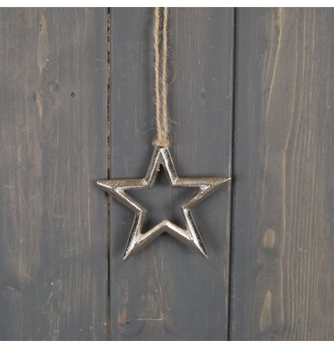 A rough luxe inspired star hanging decoration with a textured silver aluminium finish.