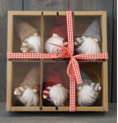 Set within a gingham bow tied box, this mix of coloured gonks are perfect for any tree at Christmas