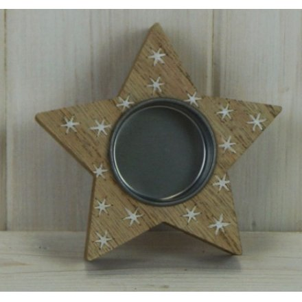 Star Shape Wooden Tlight Holder