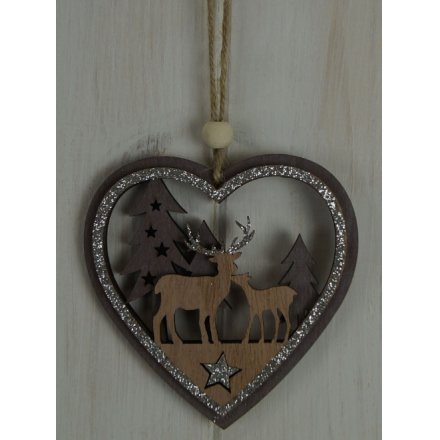 Hanging Heart With Woodland Scene