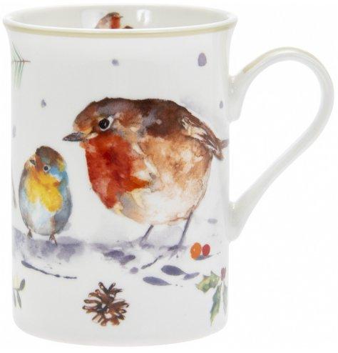 A festive themed china mug decorated with a festive winter robin printed finish