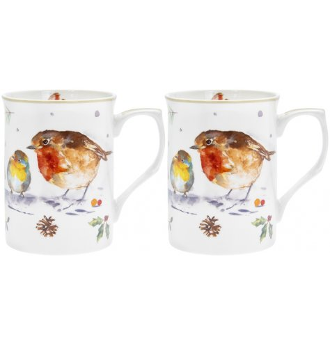 A festive themed set of china mugs decorated with a festive winter robin printed finish