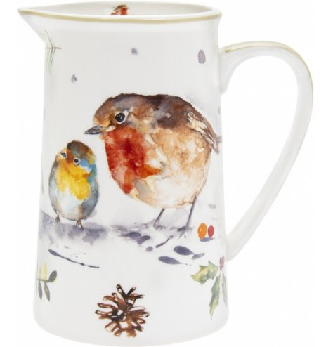 A festive themed china jug decorated with a festive winter robin printed finish