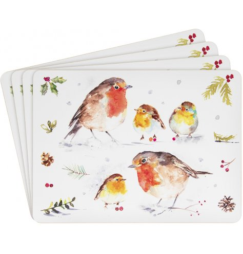 A festive themed set of cork based placemats, each decorated with a christmas robin illustration