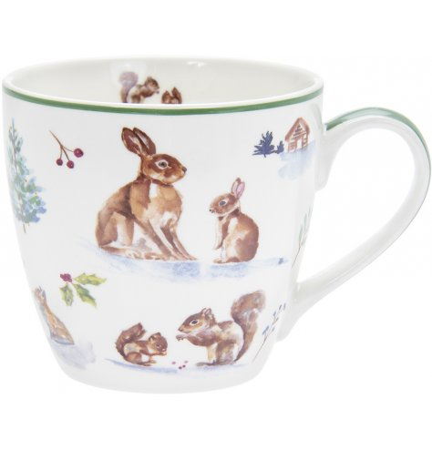 Part of a charming new range of home and kitchenwares, a watercolour inspired woodland scene printed onto a china mug