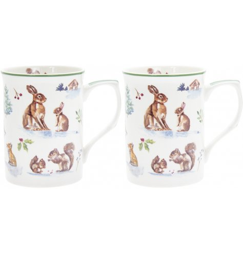 Part of a charming new range of home and kitchenwares, a watercolour inspired woodland scene printed onto china mugs