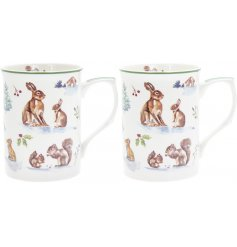 Set with its watercolour inspired woodland decal, this China Mug set is part of a charming new range of home and kitche