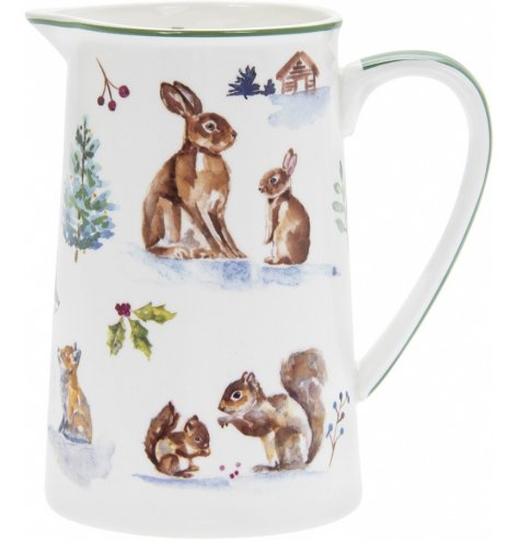 Part of a charming new range of home and kitchenwares, a watercolour inspired woodland scene printed onto a china jug