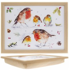 A delightfully festive themed lap tray with an added winter robin decal with a watercolour inspiration