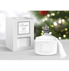 silver and white toned diamond ridge pot filled with a festive scented wax
