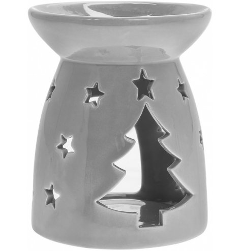 A simple grey toned ceramic oil burner, decorated with a cut out tree decal