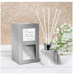 stunning silver toned diamond ridge diffuser filled with a festive scented oil