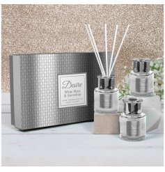 A beautifully detailed set of glass diffusers with stunning white and silver hues