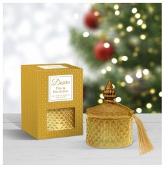 this Christmas Desire Candle features a stylish ridged decal and tassel finish