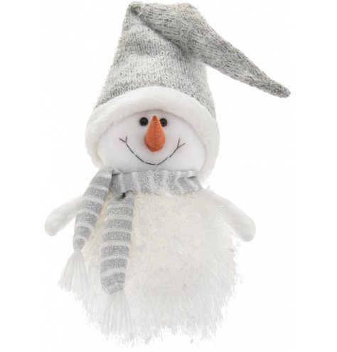 A festive themed fabric snowman with a knitted hat and warm glowing LED centre