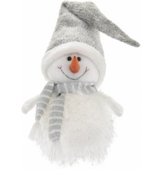 A sweetly sat plump Snowman with added glittery decals, a smiling face and warm glowing LED to finish