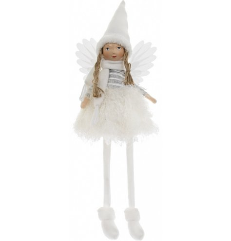 A traditional inspired shelf sitting angel figure, complete with a friendly face, fluffy textures and white hues