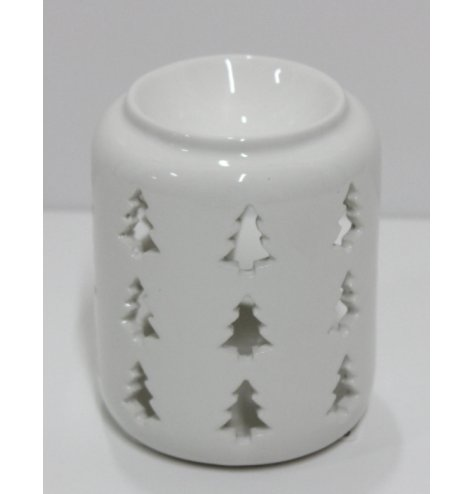 A simple white toned ceramic oil burner, decorated with a cut out tree decal
