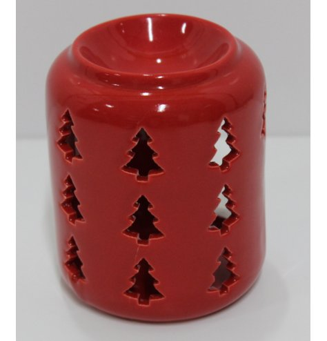 A simple red toned ceramic oil burner, decorated with a cut out tree decal
