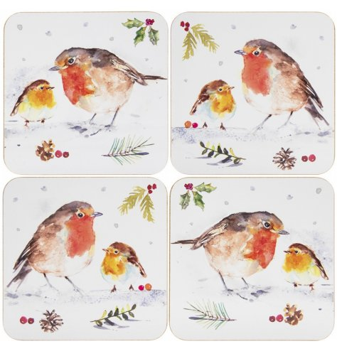A charming set of cork coasters, each featuring a printed winter robin decal