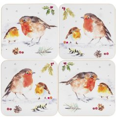 a set of coasters with a charming Robin Decal on each