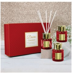 A beautifully detailed set of glass diffusers with stunning red hues