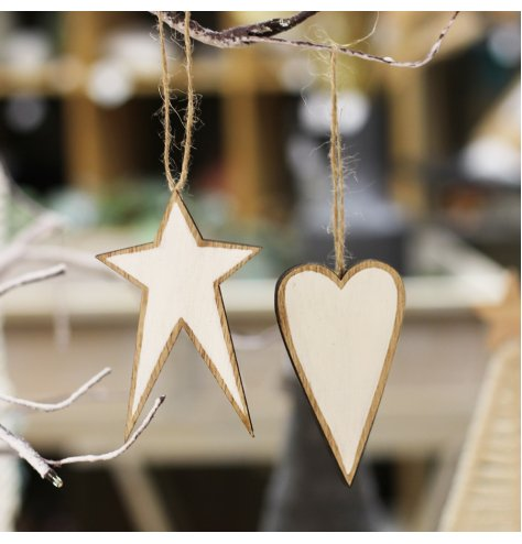 A mix of natural wood star and heart hangers with white toned centres